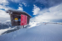 KITZBUEHEL, AUSTRIA - February 17, 2016 - Skiers skiing in Kitzbuehel Royalty Free Stock Image