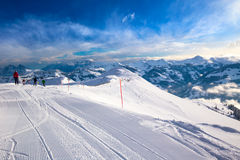 KITZBUEHEL, AUSTRIA - February 17, 2016 - Skiers skiing in Stein Stock Images