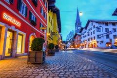 KITZBUEHEL, AUSTRIA - FEBRUARY 15, 2016- View of historic city K Royalty Free Stock Photography