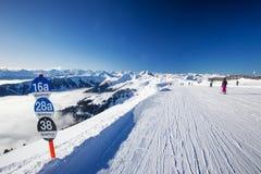 KITZBUEHEL, February 18, 2016 - Skiers skiing in Kitzbuehel ski Royalty Free Stock Image