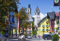 KITZBUHEL, AUSTRIA. AUGUST 08, 2015:  In The Street of Kitzbuhel. Kitzbuhel is a small medieval town in Tyrol.The town is situated in the Kitzbuhel Alps Stock Photo