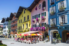 KITZBUHEL, AUSTRIA. AUGUST 08, 2015:  In The Street of Kitzbuhel. Kitzbuhel is a small medieval town in Tyrol.The town is situated in the Kitzbuhel Alps Royalty Free Stock Photo