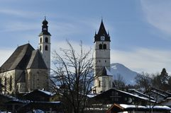 Kitzbuhel's Twin Churches Stock Photo