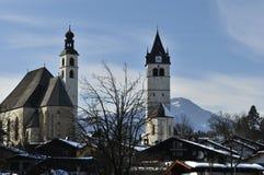 Kitzbuhel's Twin Churches. Two churches Liebfrauenkirche & St Andrew's in the centre of Kitzbuhel in Tirol - Austria stock photo