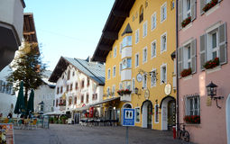 Kitzbuhel town. The view on the square in the centre of Kitzbühel alpine town in Tirol - Austria Stock Images