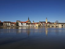 Kitzingen skyline reflected in water in morning Stock Photo