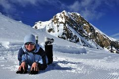 Kitzsteinhorn滑雪场,Salzburger土地,奥地利 图库摄影