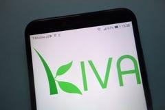 Kiva Microfunds Kiva org Logo angezeigt auf Smartphone stockbilder