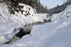 Kivach waterfall in winter. Royalty Free Stock Photos