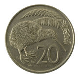 Kivi bird on New Zealand coin. Kivi bird on New Zealand 20 cent coin (1978) isolated, clipping path included Stock Photo
