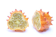 Kiwano cut in half Stock Photos