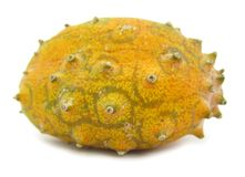 Kiwano horned melon fruit. The horned melon, also called melano, African horned cucumber or melon, jelly melon, hedged gourd, English tomato, or kiwano, is the Royalty Free Stock Photography