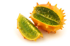 Kiwano melon and a cut piece Royalty Free Stock Images