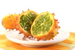 Kiwano on a plate Stock Images