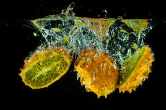 Kiwano water splash Stock Photo