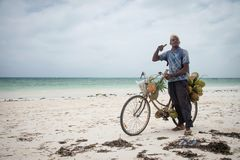 Seller of coconuts on a bicycle, Zanzibar Stock Photo