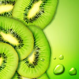 Kiwi. Juicy Kiwi Slices border over green background stock photography