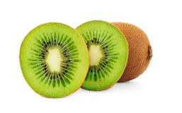 Isolated kiwi. Cut in halves kiwi fruit in a row isolated on a white background stock photos
