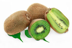 Kiwi. With leaves on a white background Royalty Free Stock Photos