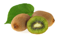 Kiwi. Fruits with green leaf Royalty Free Stock Photos