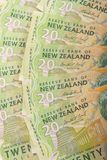 Kiwi $20 bills. Fanned out $20 New Zealand bank notes stock images