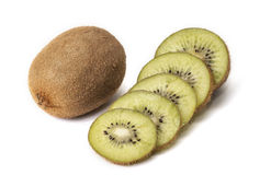 Kiwi. Whole and sliced ​​on a white background Stock Photos