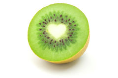 Kiwi. Fruit and heart in a white  background Stock Images