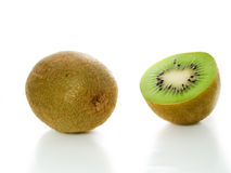 Kiwi. And one slice isolated Stock Images