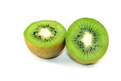 Kiwi. Splitted in Halves Isolated on White Stock Photography