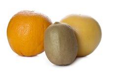Kiwi, apelsin och grapefrukt Royaltyfria Bilder