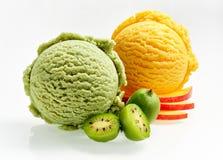 Kiwi and apple ice cream scoops Royalty Free Stock Image