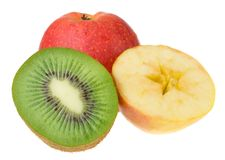 Kiwi and apples isolated Royalty Free Stock Photo