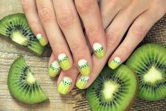 Kiwi Art Manicure Stock Images