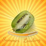 Kiwi Bakgrund för kiwi för sommarpäfyllningsstång med solstrålar och solen Royaltyfria Foton