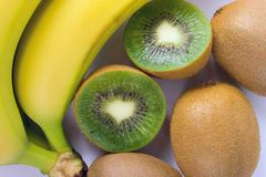 Kiwi and banana. Some fresh kiwi and banana closeup stock image