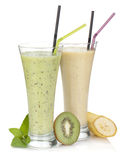 Kiwi and banana milk smoothie Stock Image