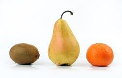 Kiwi, Birne, Mandarine Stockfoto