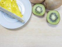 Kiwi cake and fruit Stock Images