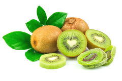 Kiwi with candied fruit and leaves. Isolated on white background Stock Images