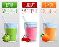 Kiwi, cherry, peach smoothie concept background, cartoon style royalty free illustration