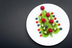 Kiwi Christmas tree - fun food idea for kids party or breakfast stock photography