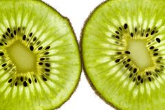Kiwi Close Up. Close up shot of sliced kiwifruit on white Royalty Free Stock Images