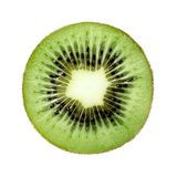 Kiwi in cross section on a white isolated background. Close-up. stock photos