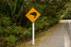 Kiwi crossing road sign. Northland, New Zealand stock images
