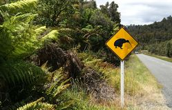 Kiwi Crossing Sign In Rural New Zealand Royalty Free Stock Image