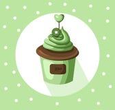 Kiwi cupcake muffin Vector illustration dessert. Template icon for menu, cafe, bakery. Vintage retro background Stock Image