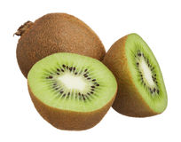 Kiwi cut in half isolated on white background Stock Images