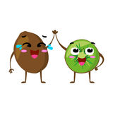 Kiwi. Cute fruit vector character couple isolated on white background. Funny emoticons faces. Illustration. Stock Photos