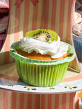 Kiwi dessert fruit tart pastry with whipped cream Royalty Free Stock Photography