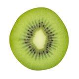 Kiwi di sezione trasversale isolato su fondo bianco, tagliante fotografia stock